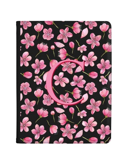 Flurry of Pink Flowers around an Initial tablet case available for all major manufacturers including Apple, Samsung & Sony
