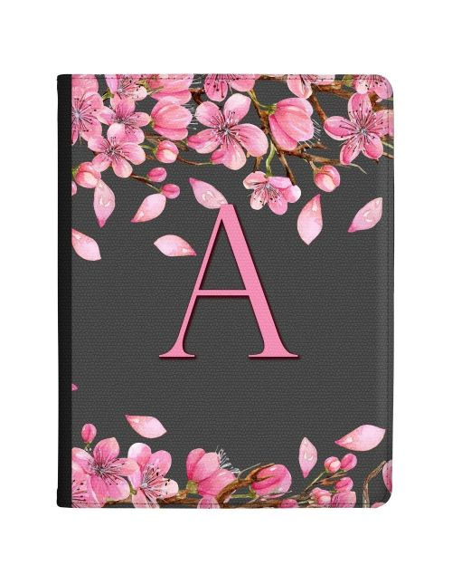 Branches of Pink Flowers around an Initial tablet case available for all major manufacturers including Apple, Samsung & Sony