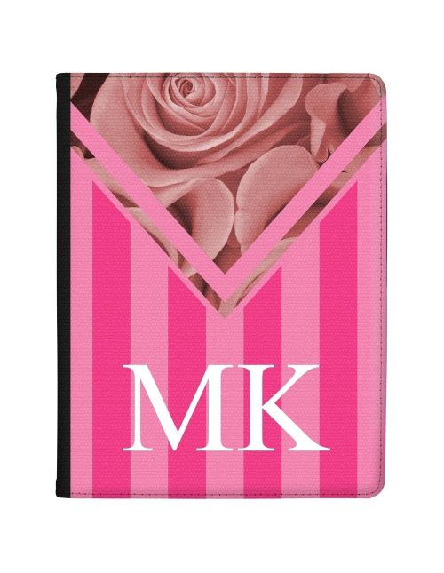 Pink Stripes with Rose tablet case available for all major manufacturers including Apple, Samsung & Sony