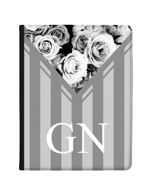 Grey Stripes with Flowers tablet case available for all major manufacturers including Apple, Samsung & Sony