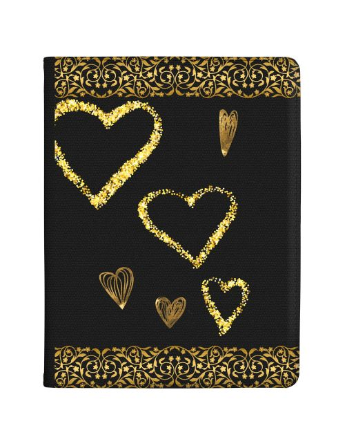 Transparent with Gold Borders and Gold Love Hearts tablet case available for all major manufacturers including Apple, Samsung & Sony