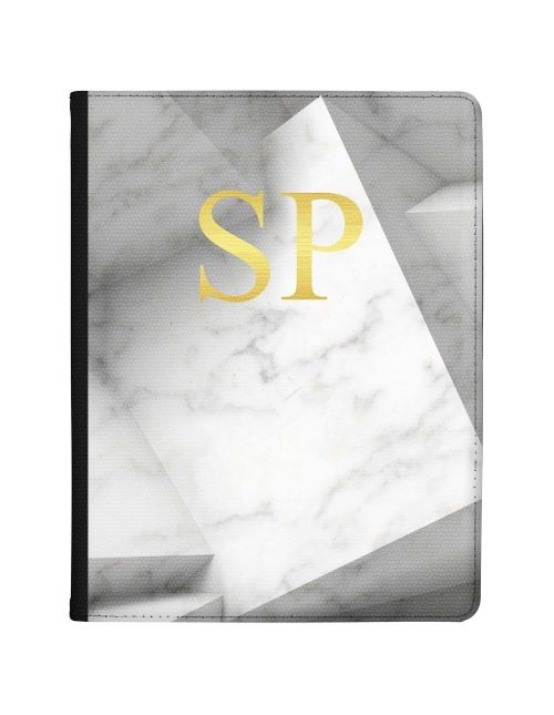 White Marble with Grey Shaded Borders tablet case available for all major manufacturers including Apple, Samsung & Sony