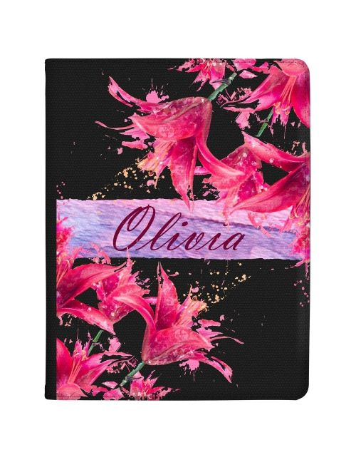 Pink Flowers with Name in the Middle tablet case available for all major manufacturers including Apple, Samsung & Sony
