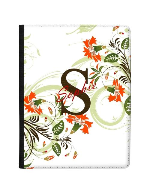 White with Flowers, Initial and Name tablet case available for all major manufacturers including Apple, Samsung & Sony
