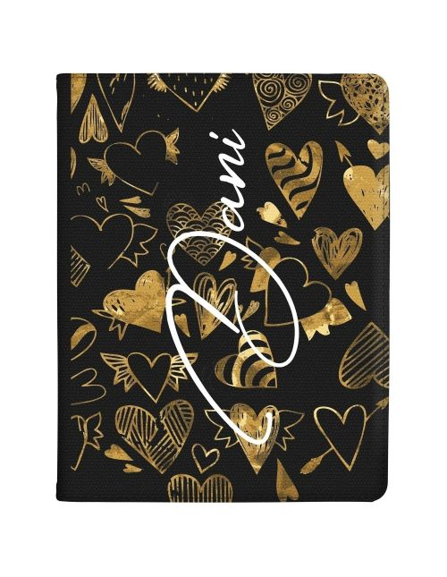 Gold Hearts with Different Patterns tablet case available for all major manufacturers including Apple, Samsung & Sony