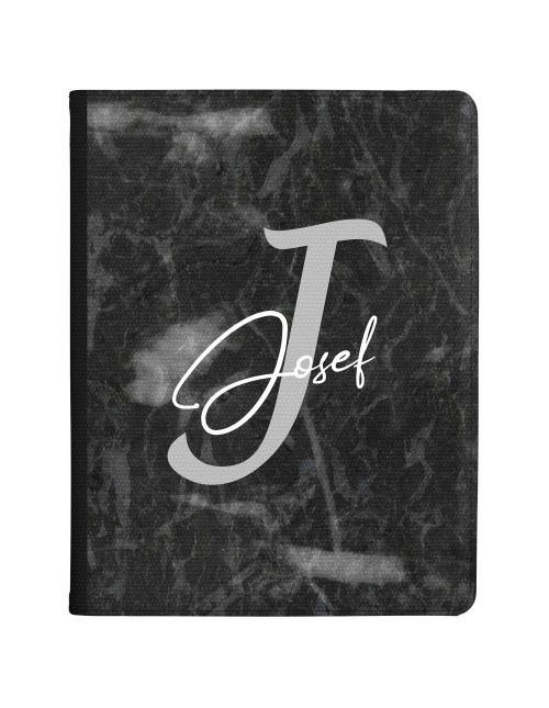 Charcoal Grey with Name and Initial tablet case available for all major manufacturers including Apple, Samsung & Sony
