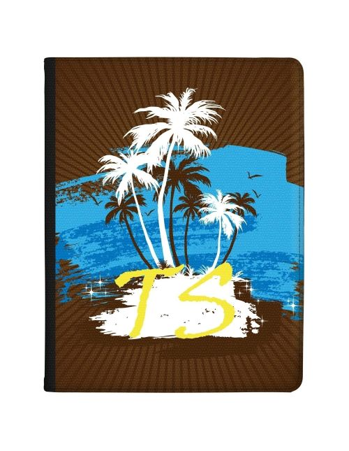 White and Brown Palm Trees with Blue Centre tablet case available for all major manufacturers including Apple, Samsung & Sony