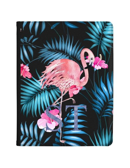 Pink Flamingo with Blue Leaves tablet case available for all major manufacturers including Apple, Samsung & Sony