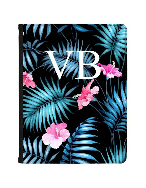Electric Blue Leaves with Pink Flowers tablet case available for all major manufacturers including Apple, Samsung & Sony