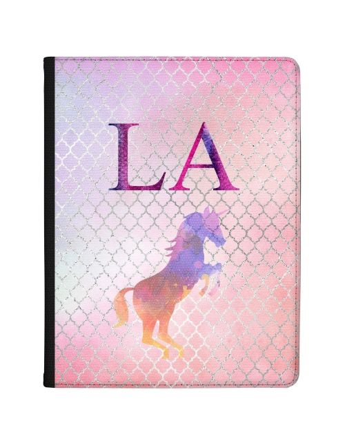 Multi-coloured Unicorn on a Pink Background tablet case available for all major manufacturers including Apple, Samsung & Sony