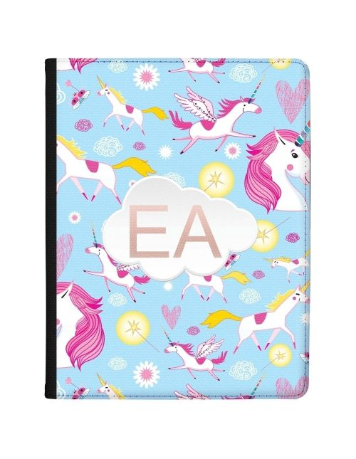 Cartoon Unicorns on a Blue Background tablet case available for all major manufacturers including Apple, Samsung & Sony