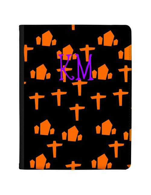 Bright Orange Gravestones on a Black Background with Purple Writing tablet case available for all major manufacturers including Apple, Samsung & Sony