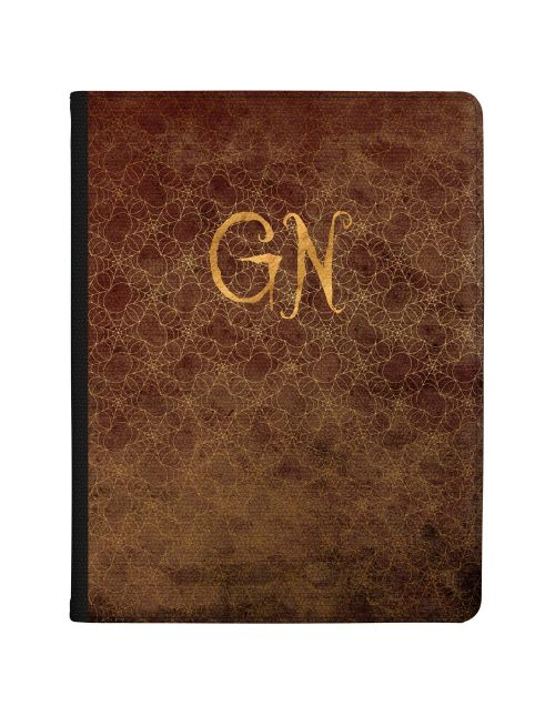 Gold Spiderwebs on a Brown Leather effect background with Gold text tablet case available for all major manufacturers including Apple, Samsung & Sony