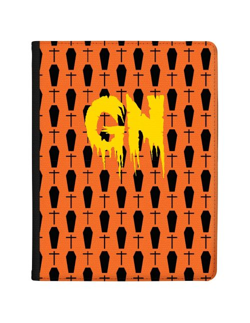 Black Graves on a bright Orange Background with Yellow Text tablet case available for all major manufacturers including Apple, Samsung & Sony