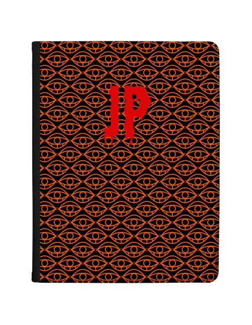 Orange Eyes on Black Bakcground with Red Writing tablet case available for all major manufacturers including Apple, Samsung & Sony