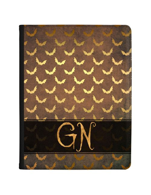 Repeating Gold Bats on a Brown Leather effect background with Gold Text tablet case available for all major manufacturers including Apple, Samsung & Sony