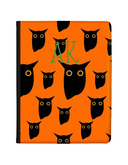 Black Owls on a Bright Orange Background with Green writing tablet case available for all major manufacturers including Apple, Samsung & Sony