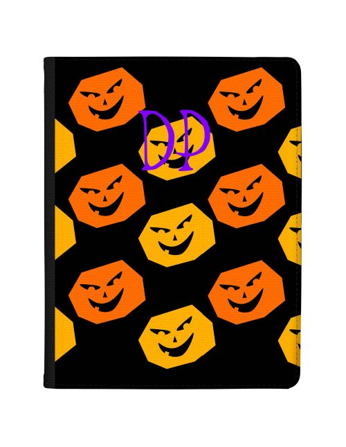 Orange and Yellow Pumpkins on a black background with purple text tablet case available for all major manufacturers including Apple, Samsung & Sony