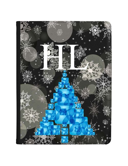 Blue Parcel Christmas Tree on a Snowflakes Background tablet case available for all major manufacturers including Apple, Samsung & Sony