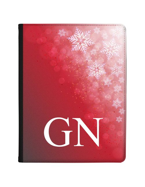 Deep Red Background with Beautiful White Snowflakes in the corner tablet case available for all major manufacturers including Apple, Samsung & Sony