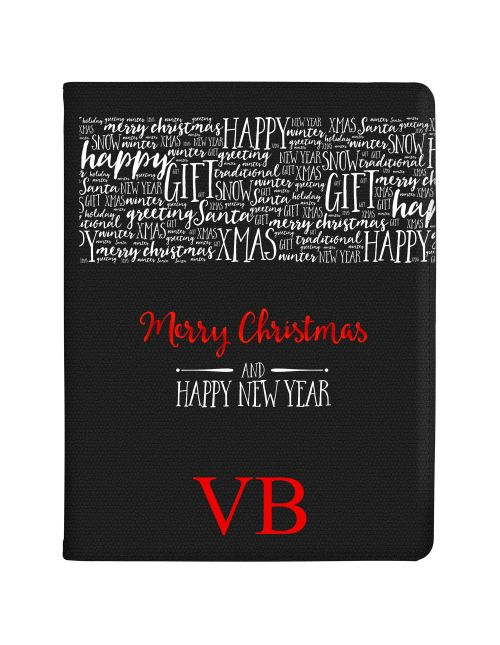 Transparent Background with Christmas Greetings and Red Initials tablet case available for all major manufacturers including Apple, Samsung & Sony