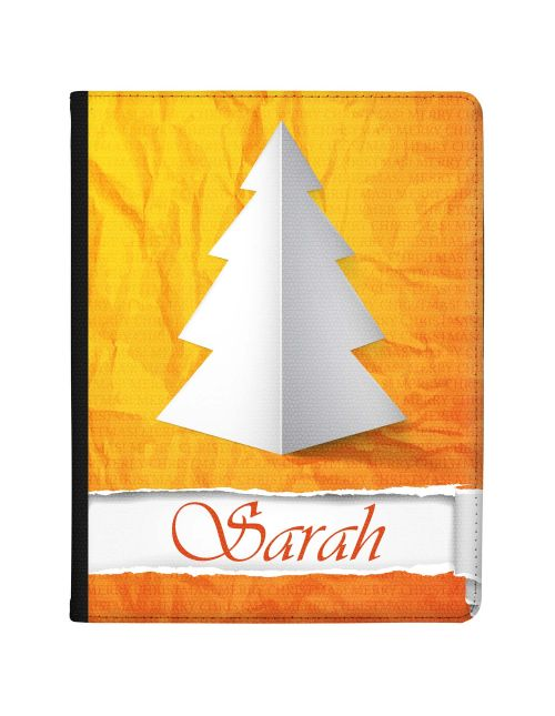 White Paper Christmas Tree with Warm Orange Background tablet case available for all major manufacturers including Apple, Samsung & Sony