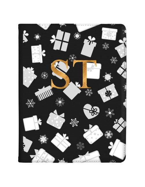 Clear Background with White and Silver Christmas Gifts Pattern tablet case available for all major manufacturers including Apple, Samsung & Sony