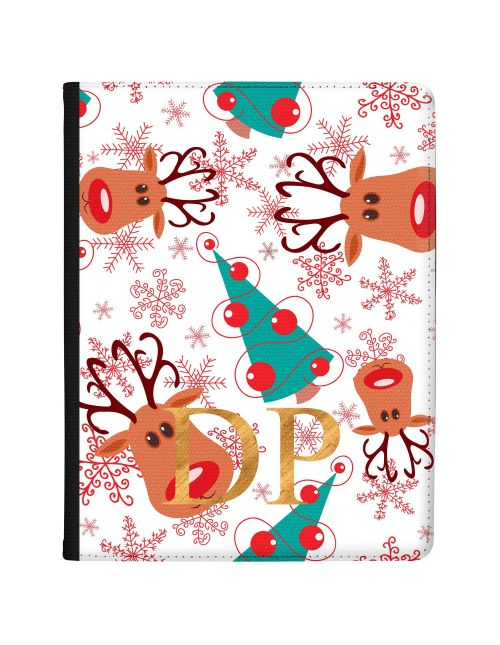 Rudolph and Christmas Tree Pattern with Red Snowflakes on a White Backgroun tablet case available for all major manufacturers including Apple, Samsung & Sony