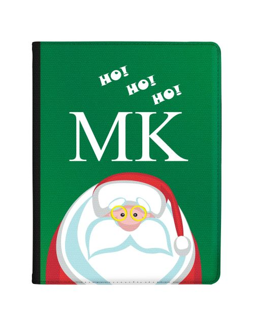 Funny Santa with Glasses and Ho Ho Ho on Green Background tablet case available for all major manufacturers including Apple, Samsung & Sony