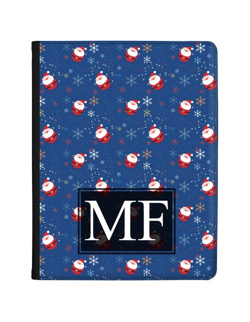 Cute Santa Pattern with Snowflakes on a Blue Background  tablet case available for all major manufacturers including Apple, Samsung & Sony