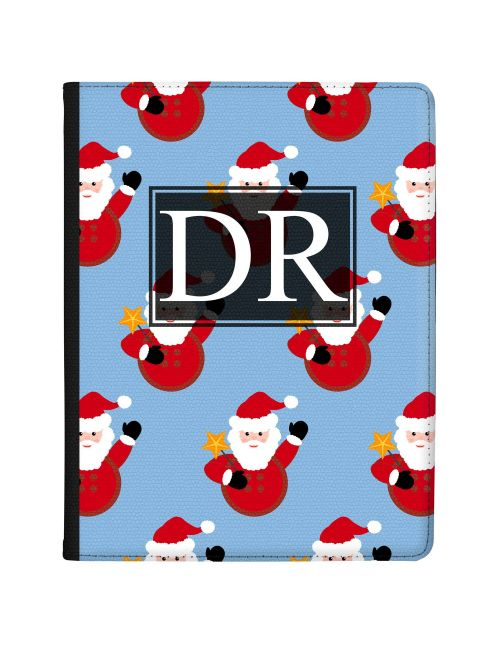 Santa Claus with Star Pattern on Ice Blue Backgrund tablet case available for all major manufacturers including Apple, Samsung & Sony