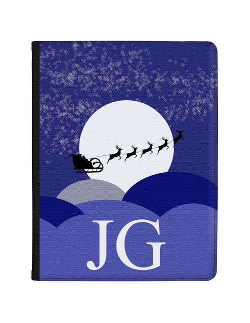 Santa Sleigh Silhouette at Christmas Night with White Initials tablet case available for all major manufacturers including Apple, Samsung & Sony