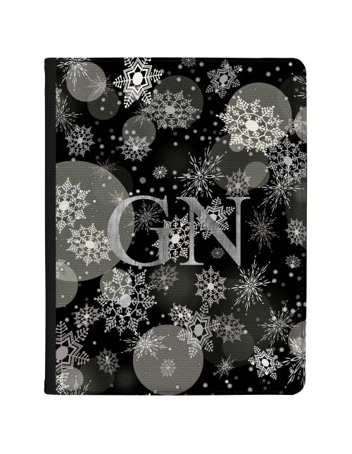 Transparent Silver Snowflakes and Baubles Pattern with Grey Initials tablet case available for all major manufacturers including Apple, Samsung & Sony