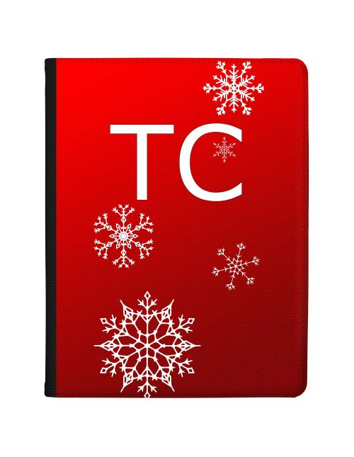 Christmas Snowflakes on Deep Red Background tablet case available for all major manufacturers including Apple, Samsung & Sony