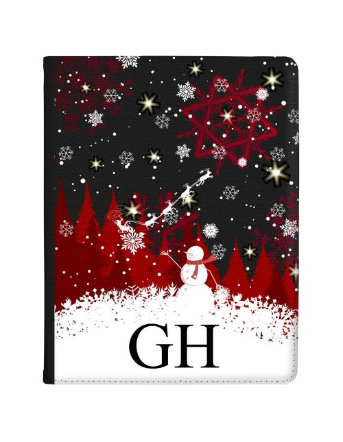 White & Red Winter Scenery with Santa and Snowman tablet case available for all major manufacturers including Apple, Samsung & Sony