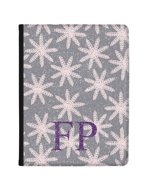 Woolen Snowflakes on Grey Background with Purple Initials tablet case available for all major manufacturers including Apple, Samsung & Sony