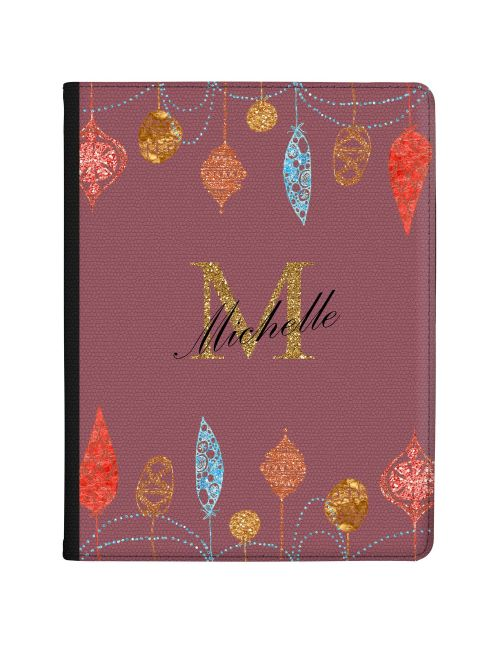 Christmas Baubles on Burgundy Background tablet case available for all major manufacturers including Apple, Samsung & Sony