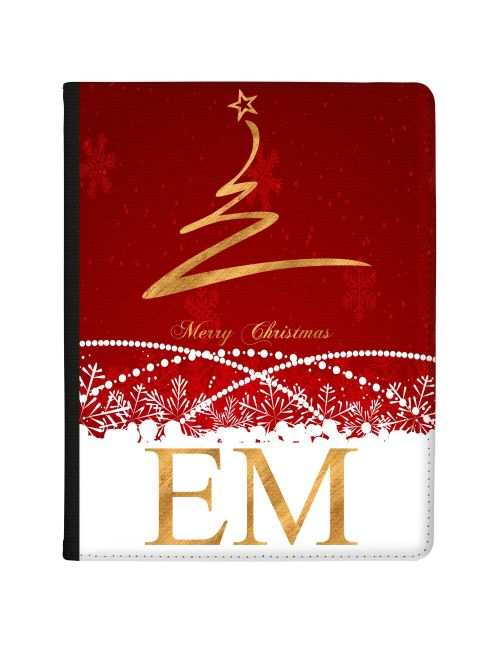 Gold Christmas Tree with Red and White Background tablet case available for all major manufacturers including Apple, Samsung & Sony
