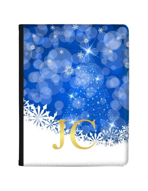 Sparkling Christmas Tree Silhouette with White and Blue Design tablet case available for all major manufacturers including Apple, Samsung & Sony