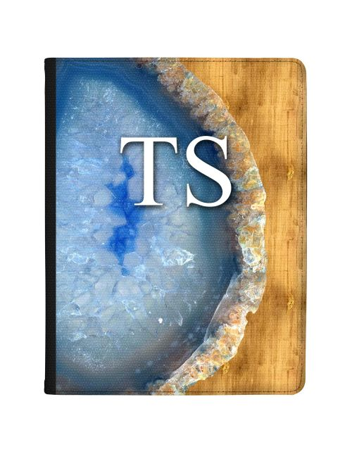 Blue Silver And Golden Geode tablet case available for all major manufacturers including Apple, Samsung & Sony