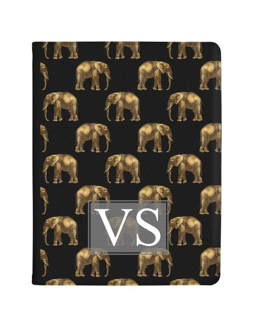 Transparent with Golden Repeating Elephant Pattern tablet case available for all major manufacturers including Apple, Samsung & Sony