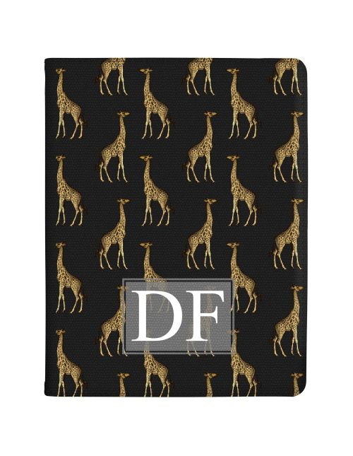 Transparent with Golden Repeating Giraffe Pattern tablet case available for all major manufacturers including Apple, Samsung & Sony