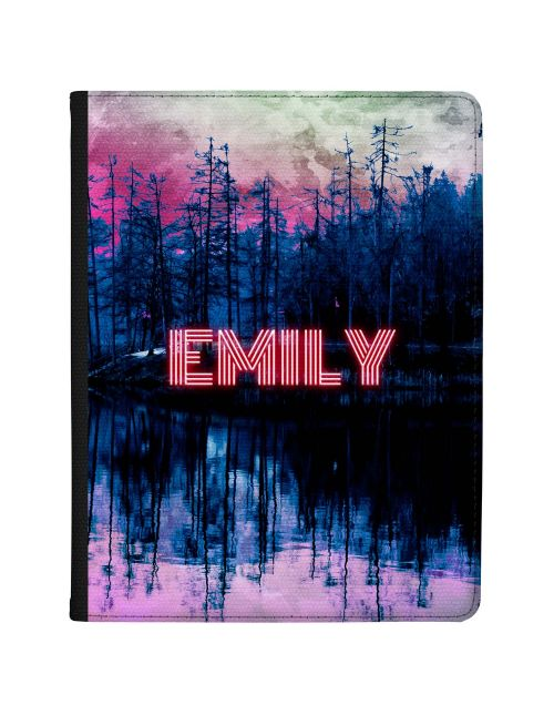 Glowing Neon Name Over A Lake tablet case available for all major manufacturers including Apple, Samsung & Sony
