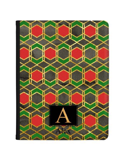 Red Gold And Green Harlequin Geometric Design tablet case available for all major manufacturers including Apple, Samsung & Sony