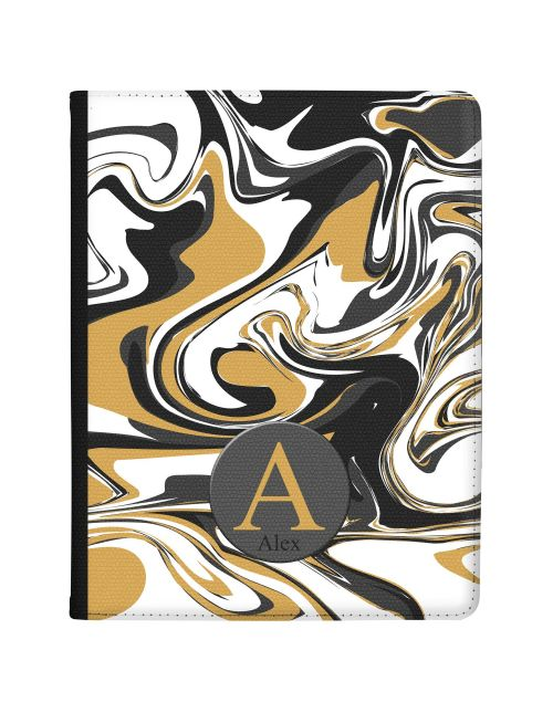 Grey And Gold Marbled Ink tablet case available for all major manufacturers including Apple, Samsung & Sony