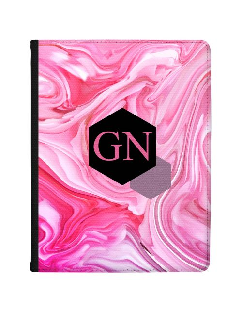 Pink And Purple Marbled Ink With Geometric Banner tablet case available for all major manufacturers including Apple, Samsung & Sony