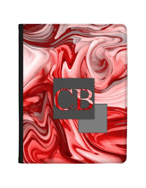 Red And Grey Marbled Ink tablet case available for all major manufacturers including Apple, Samsung & Sony