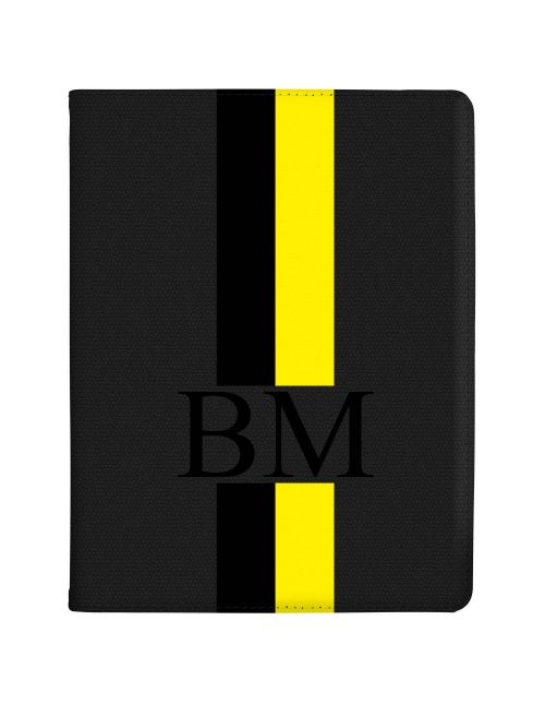 Black And Yellow Racing Stripes tablet case available for all major manufacturers including Apple, Samsung & Sony