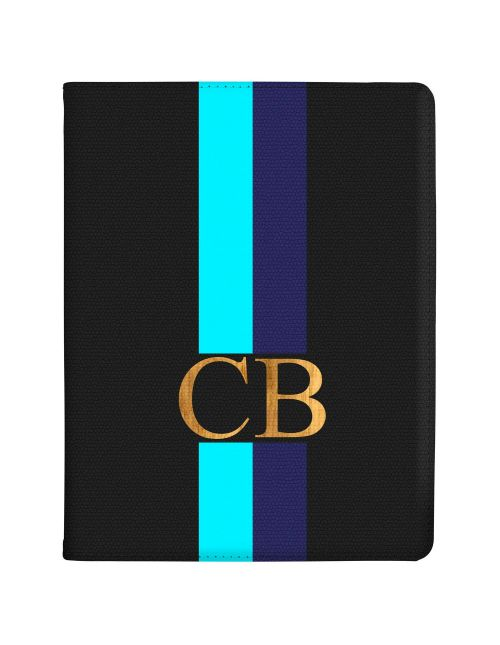 Bright Blue Racing Stripes tablet case available for all major manufacturers including Apple, Samsung & Sony