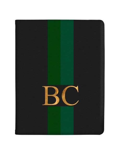 Emerald Green Racing Stripes tablet case available for all major manufacturers including Apple, Samsung & Sony